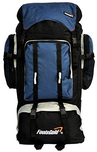 foolsGold Extra grande campeggio escursionismo zaino da viaggio con doppio accesso - navy blu