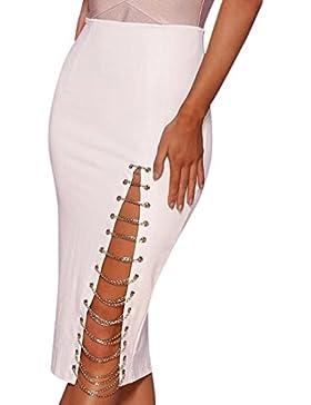 QIYUN.Z Las Mujeres De Moda Lado De La Cadena De Aleación De Aleación De Alta Cintura Falda Vestido Elástico De...