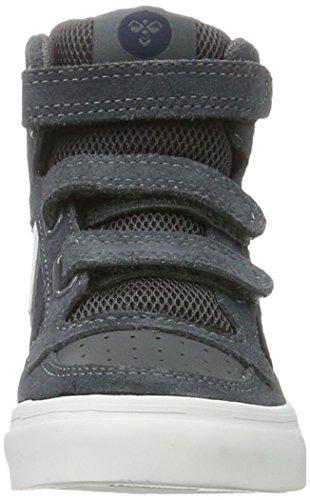 Hummel Stadil Leather Jr, Scarpe da Ginnastica Alte Unisex – Bambini Grigio (Castle Rock)