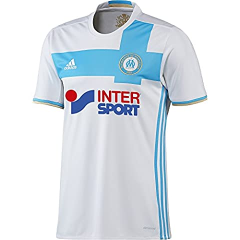 adidas Olympique Marseille Maillot de Football Homme, White/Om Blue/Light Football Gold, FR : M (Taille Fabricant : M)