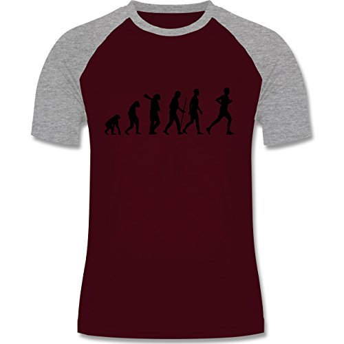 Shirtracer Evolution - Läufer Evolution - Herren Baseball Shirt Burgundrot/Grau meliert