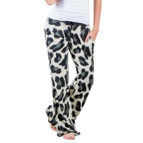 Damen Hose, SHOBDW Frauen Leopard Drawstring Wide Leg Hose Leggings (S / 32, Mehrfarbig) (Drawstring Denim-shorts)