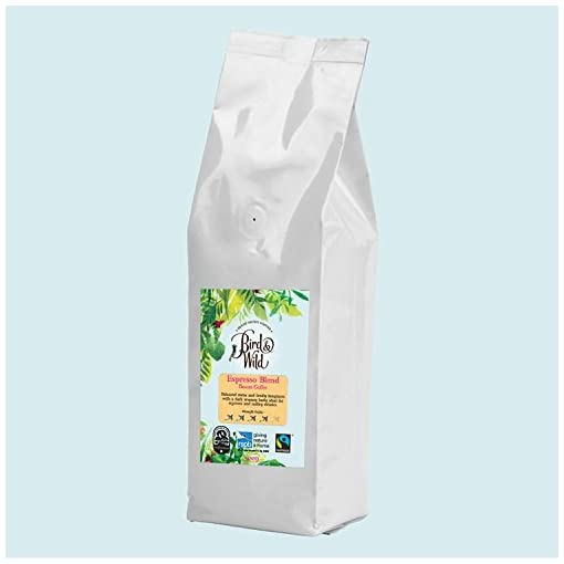 Bird & Wild RSPB Coffee Espresso Beans, Fairtrade Organic Shade Grown Bird Friendly Coffee, 6% of Sales Donated to RSPB (Espresso Roast/Whole Bean, 500g)