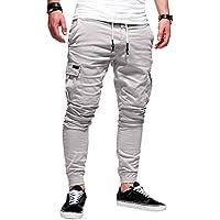 LanLan Pantalones Casuales para los Hombres, Pantalones Largos de Moda Algodón Suave Deportes Jogging Pantalones
