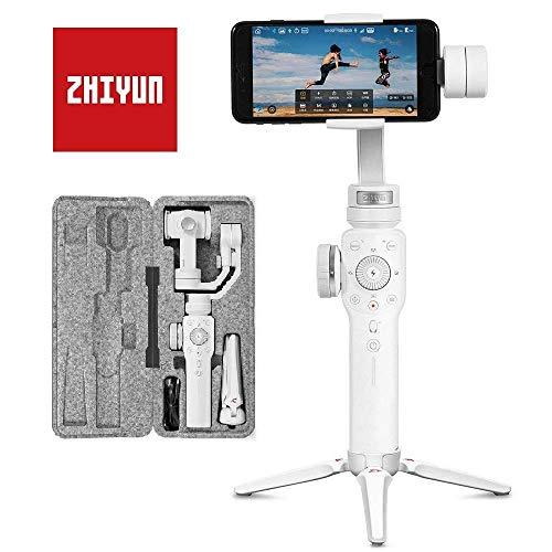 Zhiyun Smooth 4 Smartphone Gimbal Handy Stabilisator 3-Achsen Handheld Stabilizer bis zu 210g für iPhone X 8 7 6 SE, Samsung Galaxy, Huawei, GoPro Hero 6/5/4/3 Weiß