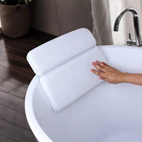 BREEZO Badekissen Badewannenkissen Badewannenkopfkissen für Kopf Nacken mit 7 Saugknöpfen für optimalen Komfort und Entspannung in der Badewanne oder im Home SPA,37x 30x 5cm weiß