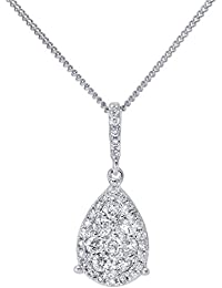 Naava Women's 18 ct White Gold 0.32ct Pave Set Diamond Teardrop Pendant with Chain Necklace of 46 cm