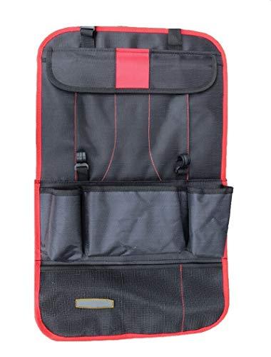 Elonglin Auto Organizer Multifunktional Rücksitzorganizer Multitasche Utensilientaschen Auto-Rückenlehnenschutz Rücksitz-Organizer iPad-Tablet-Halter Oxford Wasserdicht Rot 58 * 36CM