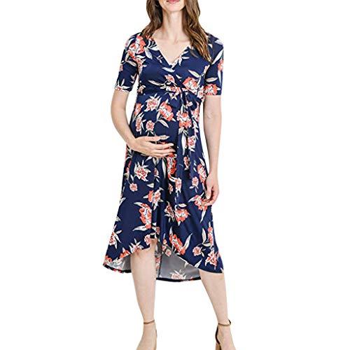 BURFLY Schwangere Mutter Sommer Kurzarm V-Ausschnitt Blumenspitze Kleid schnell trocknend lässig Strandrock