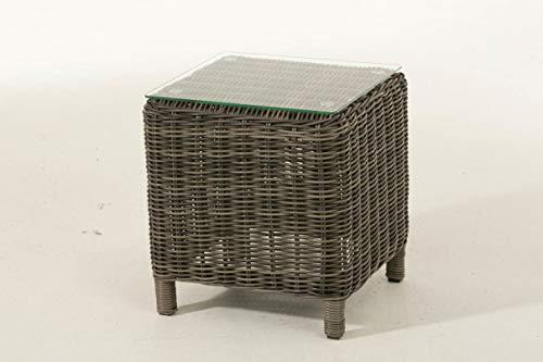 CLP Polyrattan Beistelltisch Treviso | Gartentisch aus hochwertigem Kunststoff | Tisch mit...