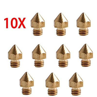 10pcs 0.2/0.3/0.4/0.5/0.6/0.8/1.0 mm 3D Printer Extruder Brass Nozzles and Nozzles Throat Print Head for MK8 Makerbot Reprap 3D Printer