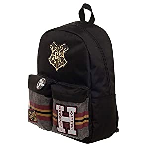 BIOWORLD MERCHANDISING Harry Potter Parches Mochila para el Tiempo Libre, 44 cm, Color Negro