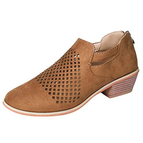 Felicove Frau Kurze Stiefel, Low Heels Lederschuhe Damen Frühling Schuhe Damenstiefeletten Mode Knöchelschuhe Aushöhlen Schuhe 2019 Mehrere Farben Fußstiefel (41, Braun)