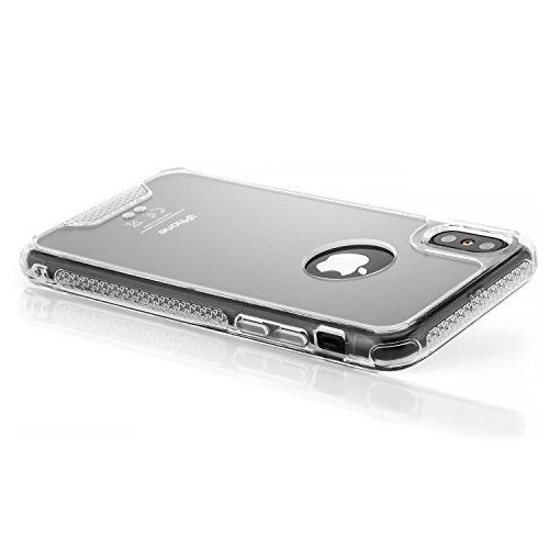 zanasta Hülle iPhone X Case TPU Schutzhülle mit Rahmen, Silikon Back Cover mit Plexiglas Rückseite Schwarz Transparent