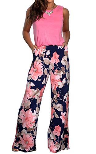 Spec4Y Damen Lange Jumpsuit Rundhals Ärmellos Blumen Overall Gummizug Casual Lose Hosenanzug mit Taschen Sommer Rosa L