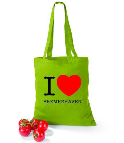 Artdiktat Baumwolltasche I love Bremerhaven Kiwi