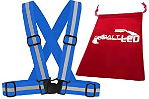 ® Cobalt: 360° Visibilità Gilet di sicurezza (per adulti/adolescenti) con strisce riflettenti per Outdoor Sport come jogging, equitazione, pattinaggio,,, camminata e attività durante il giorno, Nebbia, Tramonto e notte, Blue, Adulti