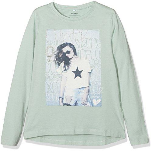 NAME IT Mädchen T-Shirt Nitlapippi LS Top Box Nmt Ger, Grün (Harbor Gray), 128 (Herstellergröße: 122-128)