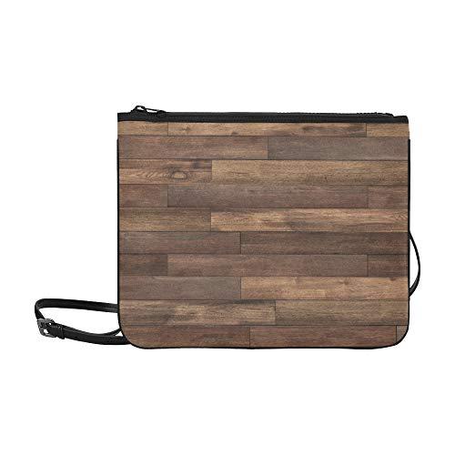 WYYWCY Old Grunge Dark Texturierte Holzmuster Benutzerdefinierte hochwertige Nylon Slim Clutch Cross Body Bag Schultertasche -