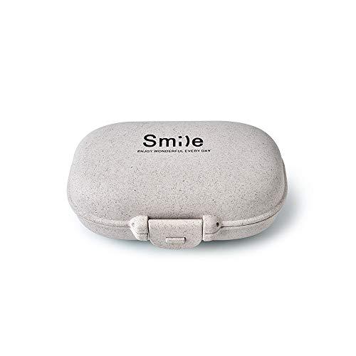 FHealth Pill Case - tragbare Reise-Tablet Medizin Vitamin-Pille-Organisator-Kasten für Handtasche oder Tasche, 4 Fächer Din Pocket Kit