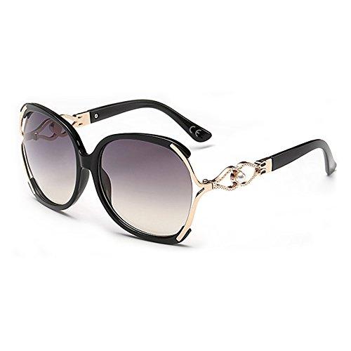 BLEVET Mode Polarisierte Sonnenbrille Damen Eyewear Brillen UV400 BE008 (Black Frame Black Lens)