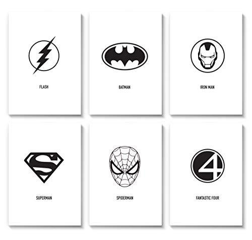 Marelle - Superhelden Poster 6er Set DIN A3 - Kunstdruck Print Wand Bilder Superman Batman Fantastic Four Spiderman Flash Iron Man Schwarz Weiß, ohne Rahmen A39098