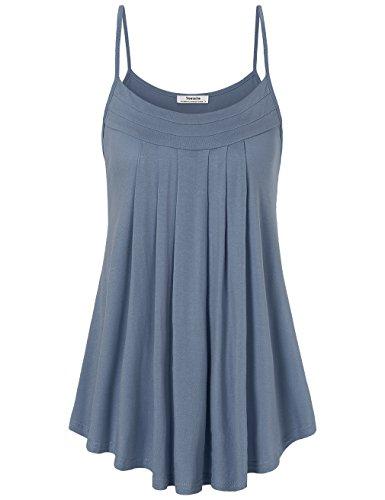 Damen Tunika Tanktops, Youtalia Lockeres und luftiges Camisole Sommer-Shirt, plissiert mit abgerundetem Saum Farbe: Blaugrau Größe: XX-Large