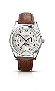 Sekonda Men's Quartz Watch with Silver Dial Chronograph Display and Brown Leather Strap 3503.71