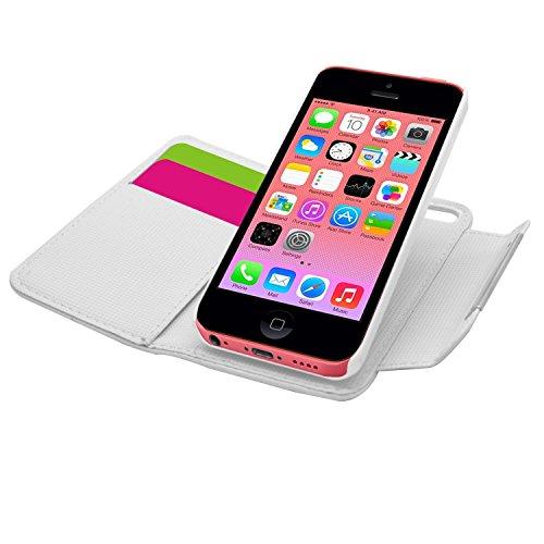 Samrick 000032114 2-in-1 Weiches Leder Buch Brieftasche für Apple iPhone 5C mit Kreditkarte/Geschäftskarte Halter/Handschlaufe, Abnehmbaren Hart Case lila Weiß