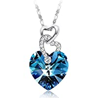 Sllaiss blue Heart Pendant Necklace with Swarovski Crystals Heart to Heart Love Jewelry for Women