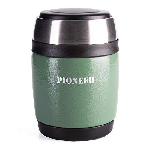 Pioneer - Thermos per Alimenti ermetico con Cucchiaio, Acciaio Inossidabile, Metallic Green, 380ml