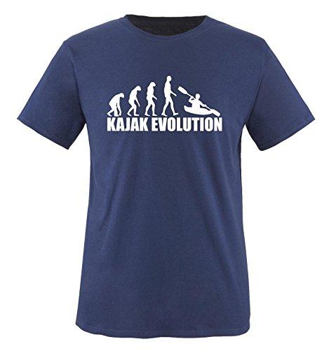 Comedy Shirts - KAJAK EVOLUTION - Kinder T-Shirt Navy/Weiss Gr. 86-92