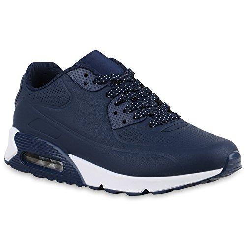 Herren Sportschuhe Leder-Optik   Sneakers Velours Glitzer   Metallic Runners   Freizeitschuhe Schnürer Blue Blue