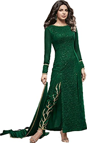Clothfab Women's Pure Georgette Embroidered Sequined Work With Stone Work Pary Wear...