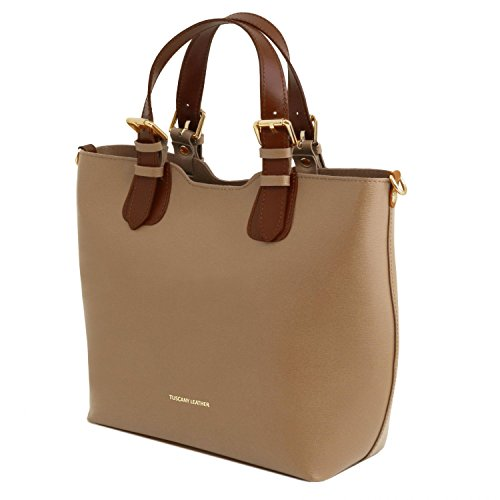 Tuscany Leather TL Bag Borsa a mano in pelle Saffiano Giallo Caramello