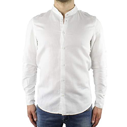 Camicia uomo lino collo coreana bianca manica lunga estiva slim fit serafino sartoriale maniche risvoltabili (l)