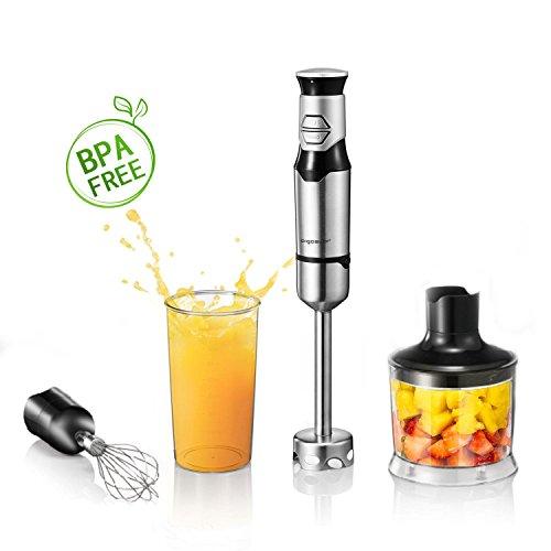 Aigostar Stirring Silver 30IOO - Stabmixer Set, 3-in-1 Multifunktionsmischer mit Rühr-, Mixen, Schneebesen, Becherbefestigung, Jog-Touch-Schalter mit 600Watt, Food Grade 304 Edelstahl. BPA frei. Exklusives Design.