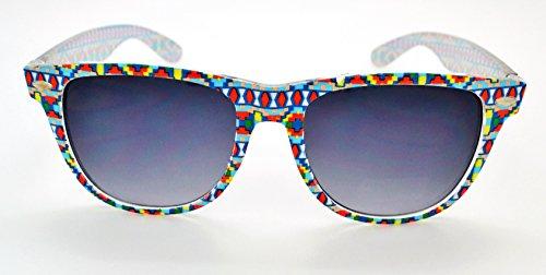 Vox qualité Durable léger et élégant pour homme & Femme Tendance Lunettes de soleil Wayfarer Rétro W/sans pochette en microfibre Pixel Pattern Frame - Smoke Lens