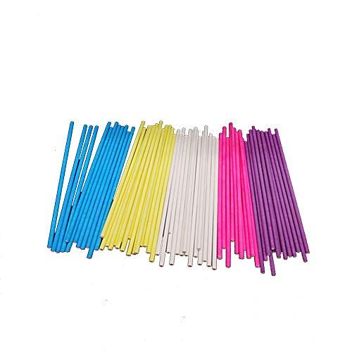 6 Zoll farbige Lutscher Sticks 7 Farben für Kuchen Pops Apple Candy (Rose-rot, blau, gelb, lila, grün, Wassermelone rot, weiß)