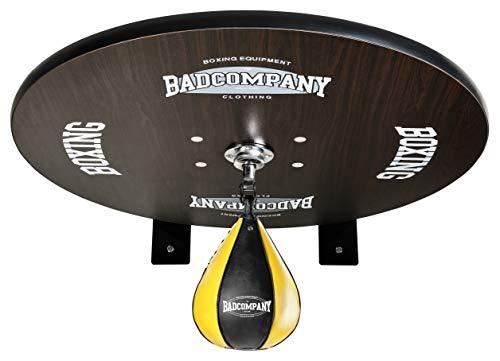 Premium Speedball Plattform Set inkl. Drehkugellagerung schwarz und PU Boxbirne medium gelb/Boxapparat für die Wandmontage BCA-40