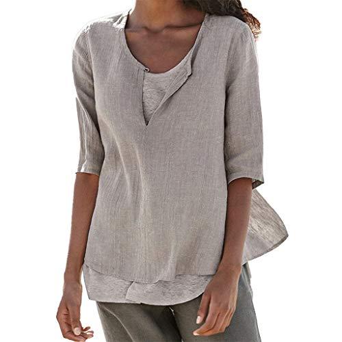 POTOU Tunika Tops Frauen Lose Leinen Lässige Button V-Ausschnitt Plus Size Solid Shirt Bluse Ausschnitt Button