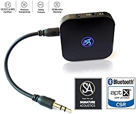 Signature Acoustics AptX and LL 2-in-1 3.5mm Bluetooth V4.1 Transmitter and Receiver (Black)
