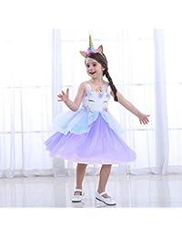 LZH Unicornio Vestido de Fiesta Niñas Flor Cosplay Cumpleaños Vestido ...