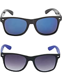 I DID Combo Of Black Blue Mirrored Wayfarer And Black Blue Wayfarer Sunglasses For Men And Women With UV Protection...