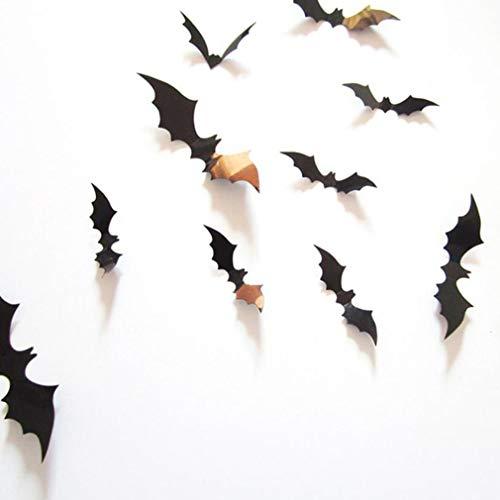 Manalada 12st Dreidimensionales Bat-Wand-Aufkleber Halloween-Dekoration