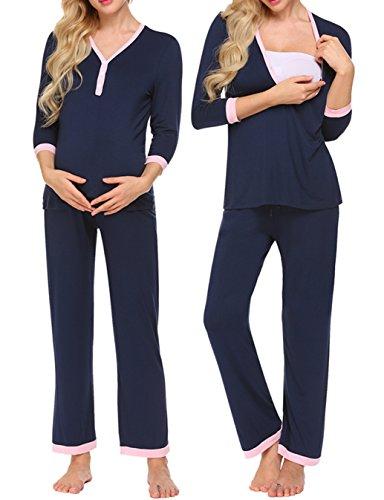 Unibelle Damen Stillpyjama-Umstandspyjama-Schlafanzug Zweiteilig Hausanzug Pyjamas 3/4 Ärmel V-Ausschnitt mit Knöpfeleiste Loungewear- Gr. L, Navy Blau