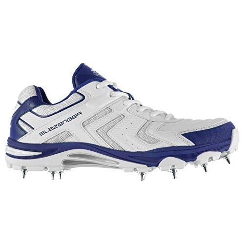 Slazenger Prem Enfants Chaussures Cricket Crampons Baskets Sneakers Sport Blanc/Bleu