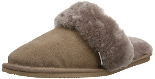 SNUGRUGS Mule With Sheepskin Cuff And Rubber Sole, Chaussons femme Gris - Gris/vison