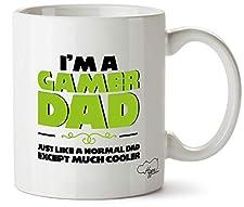 Hippowarehouse I'm a gamer dad just like a normal dad except much cooler taza impresa taza de cerámica 10 oz
