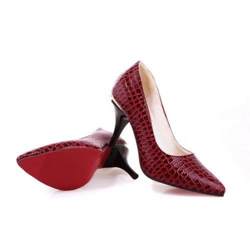 BalaMasa Stivali di gomma con tacco alto solido pompe scarpe Red